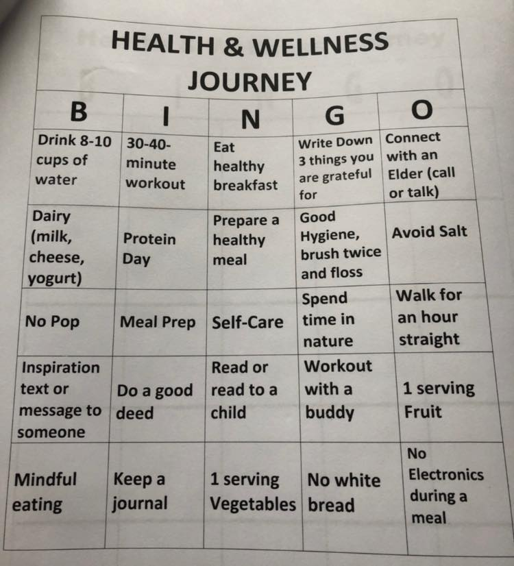 Health and Journey Bingo card